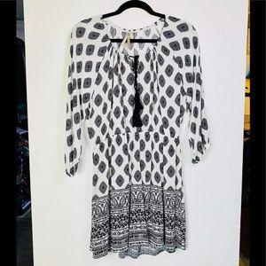 Mono B - B&W Medallion Peasant Dress
